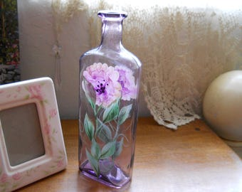Vintage Hand Pianted Lavender Bottle