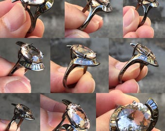 Silver ring setting with Champagne Topaz and Brown Diamond