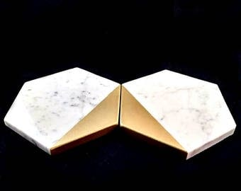 Coasters, Marble and Gold, Carrara Marble, Wedding Coasters, Wedding Favors, Gold and White Decor, Geometric Wedding, Coasters Set of 6