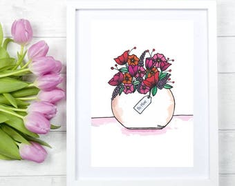 Valentines Poster, Valentines Day, Poster, Gift, Card, flower vase, Watercolor, Drawing, Red Flowers, Pink Flowers, Digital Illustration