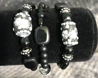 Paint It Black Handmade Bracelet
