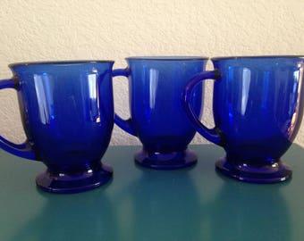 3 Vintage Anchor Hocking cobalt coffee mugs