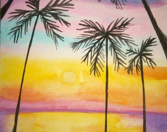 Summer sunset 4X6 watercolor painting