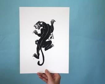 Panther Linoleum Print