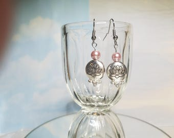 Pink Lotus Blossom Meditation Earrings