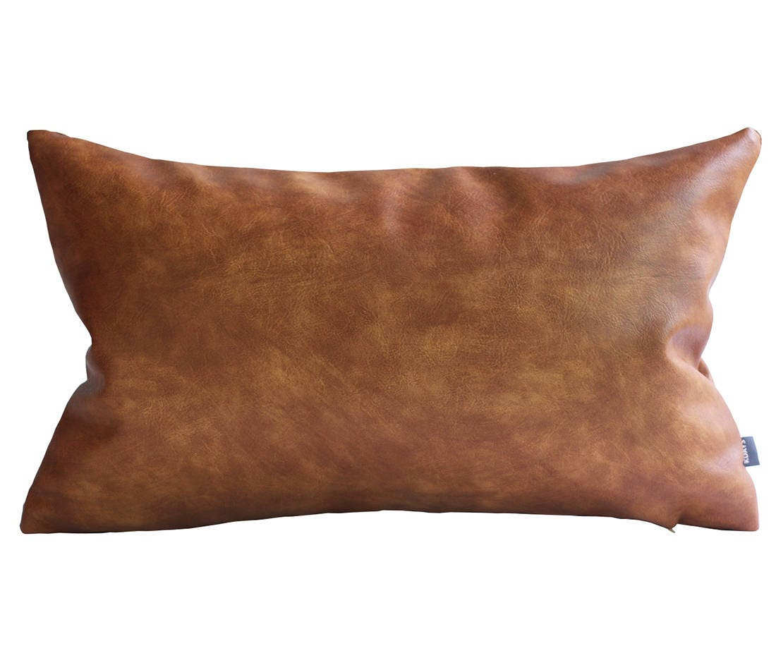 kdays faux leather tan pillow cover 12x20 inches decorative. Black Bedroom Furniture Sets. Home Design Ideas