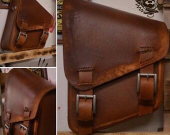 Handmade Leather Saddlebag Vintage Brown for Choppers / Harley Davidson