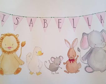 Original, hand-painted personalised watercolour with animals ideal for child's bedroom