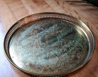 Vintage Birks Brass Decorative Tray   Brass Vanity Tray   Perfume Tray   Hollywood Regency   Brass Decor   decorative tray