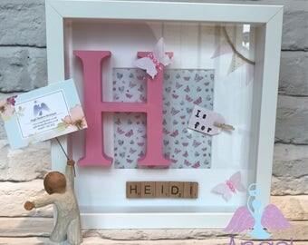 Girl's frame, personalised gift frame, gift for her, scrabble frame, pink frame, girls picture, letter frame