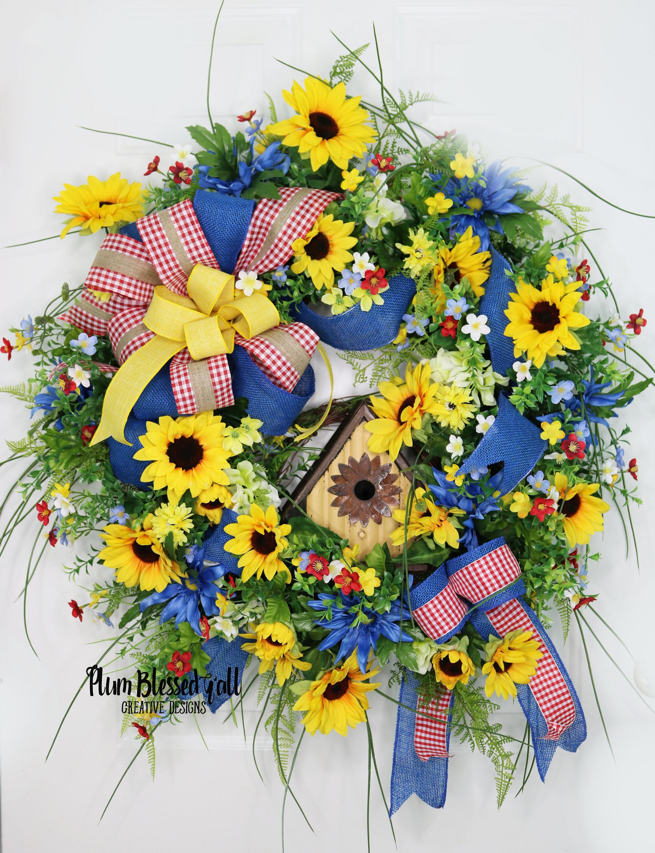 Summer front door wreaths - Details Ready For Summer This Summer Sunflower Wreath Will Brighten Your Front Door