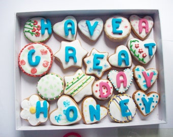 a box of cookies with a message, sweet gift