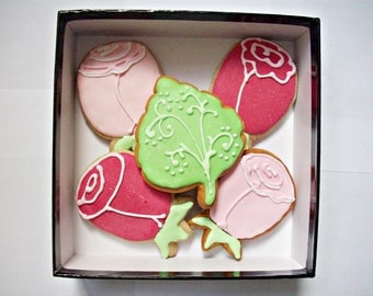 set of decorated cookies, flowers cookies, gift for her