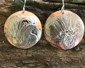 Reticulated Silver on Copper Earrings