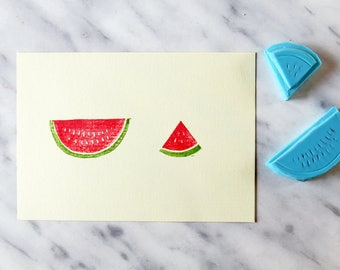 SET of 2 watermelon slices handmade rubber stamp - Hand carved - DIY crafts