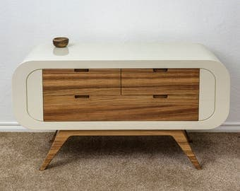 Solid zebrano and lacquer-finish sideboard / cabinet / chest of drawers / TV stand / media unit