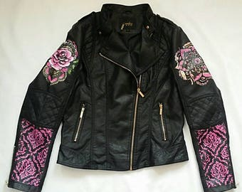 Hand painted custom faux leather Jacket