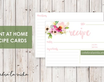 Recipe Card. Instant Download. Printable Recipe Card. Pink Flowers.