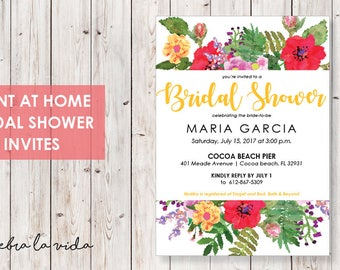Colorful Bridal Shower Invitation. Instant Download. Printable Bridal Shower Game. Orange. Yellow and Red Flowers. - 05