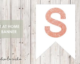 DIY Banner - 'S'. Instant Download. Printable Banner Letters. Pink Glitter. - 01
