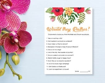 Would they Rather? Bridal Shower Game. Instant Download. Printable Bridal Shower Game. Yellow Flowers. Red and Orange. - 02