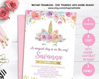 25% OFF SALE Unicorn Invitation, Magical Unicorn 1st Birthday, First Floral, Watercolor, Rainbow, Pastel, Editable invitations, Template Ins