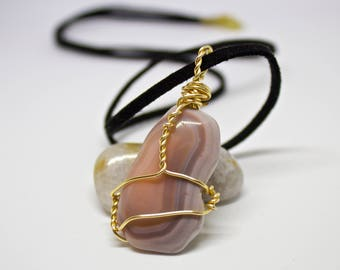 Botswana Agate Wire Wrapped Crystal Necklace