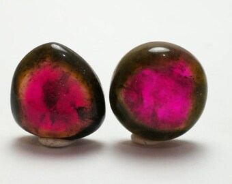 27 carats polished pairs watermelon tourmaline cabs slices best for jewellery making from Afghanistan