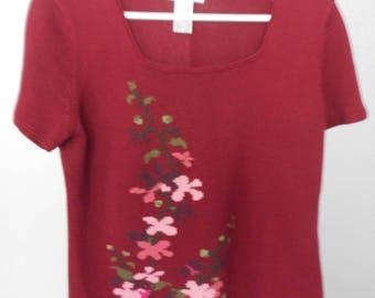 Rena Rowan women's short sleeve sweater burgundy size M