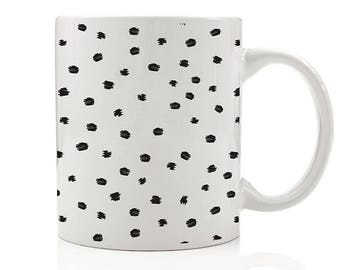 Spotted Mug, Gifts for Her, Gift for Wife, Fashion Gift, Gift for Daughter, Abstract Dots Coffee Mugs, Modern Coffee Mugs for Her, Minimal