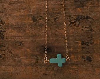 Turquoise cross necklace, handmade cross necklace, gold filled cross necklace, dainty cross necklace, sideways cross necklace