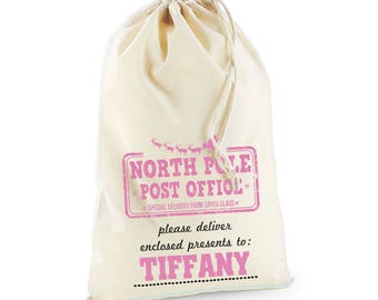 Girls Pink North Pole Post Office Christmas Day Personalised Custom Delivery Sack Kids Boys Girls