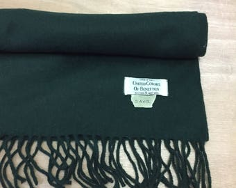 Rare Vintage United Colour of Benetton scarf/scarves winter style/Snow Cashmere Wool Style in Italy