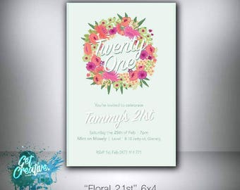 21st/Twenty first birthday invite - digital file supplied