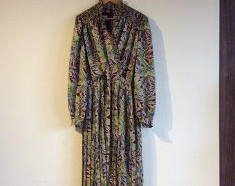 Botanical dress Japanese vintage dress beaded dress