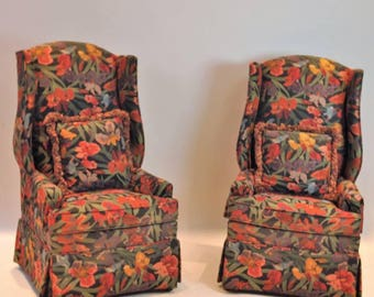 pair of custom upholstered wing chairs