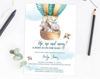 Hot Air Balloon Baby Shower Invitation Boy, Up and Away Party Invitation Template Download Clouds Baby Shower Invites Printable Template UA1