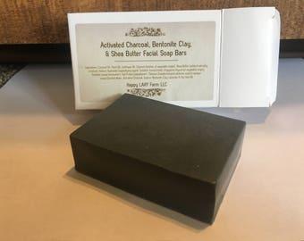 Activated Charcoal, Bentonite Clay, & Shea ButterFacial Soap Bars