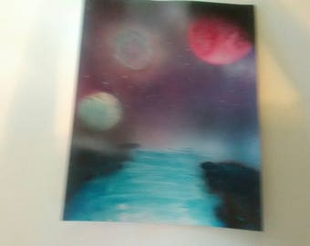 New water spray paint painting