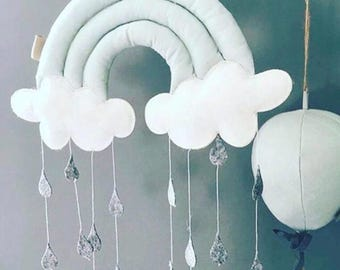 Rainbow mobile - nursery hanging - cloud rain mobile