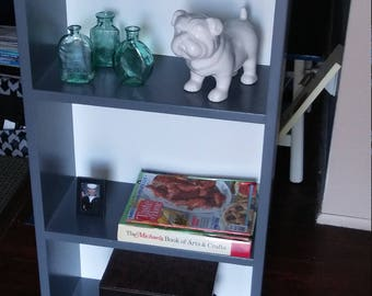 Upcycled gray and white bookcase