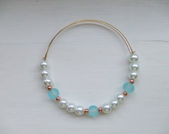 Czech pearl, rose gold and blue glass bead adjustable bracelet