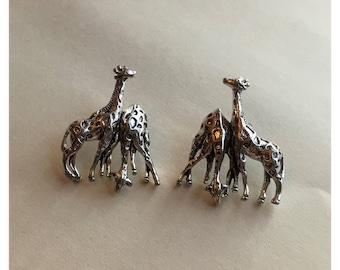 Adorable Silver Tone Giraffe Stud Earrings