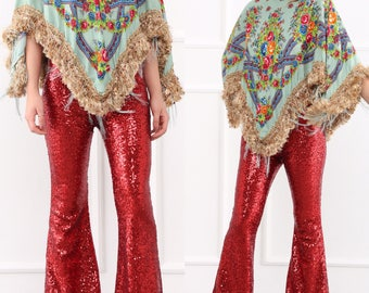 Red Sequin Flare Pants - Bell Bottoms - Wide Leg Pants - Palazzo Pants - Harem Pants - 70s Boho Hippie Women Pants