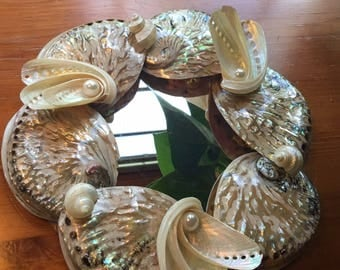 Table Decor Abalone Shells with Mirror / Wedding Decor Centerpiece