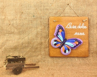 Accessories for house, country sign, inexpensive room decor, animal lover gift, chalk butterfly artwork wall art, living room decorations.