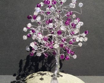 Purple and clear beaded tree