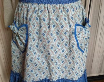 Blue and White Country Styled Half Apron
