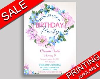 Floral Wreath Birthday Invitation Floral Wreath Birthday Party Invitation Floral Wreath Birthday Party Floral Wreath Invitation Girl 9MD18