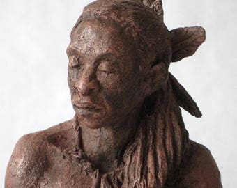 """Sculpture clay fired and patinated """"Indian"""" man"""